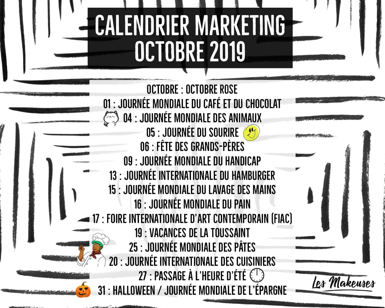 Petit Calendrier 2019.Calendrier Marketing Octobre 2019 Les Makeuses