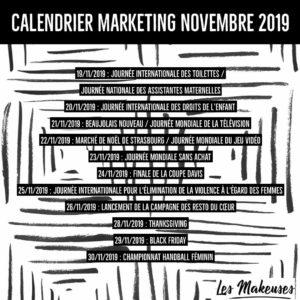Calendrier Marketing Novembre 2019