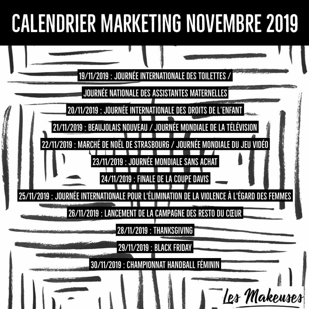 Achat Calendrier 2019.Calendrier Marketing Novembre 2019 Les Makeuses