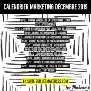 Calendrier Marketing Décembre 2019