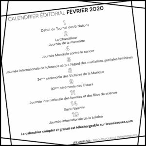 Calendrier Marketing Février 2020