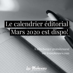 calendrier éditorial gratuit mars 2020